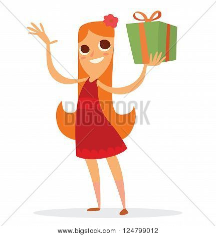 Funny Girl With A Green Gift