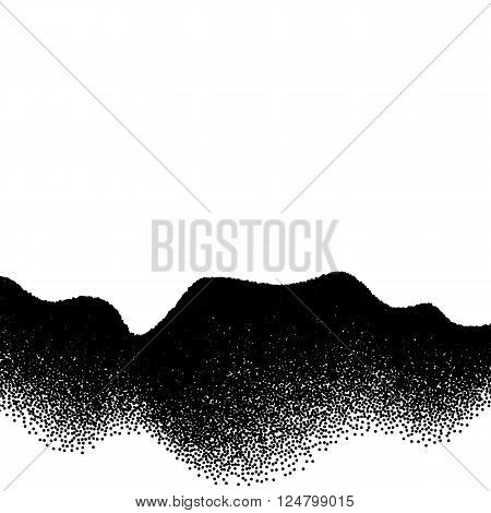 Abstract background with wavy gradient of scattered dots