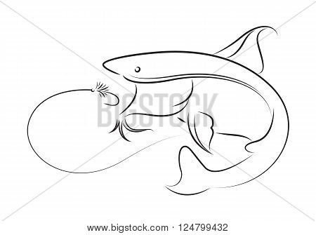clip art fishing catfish on white background