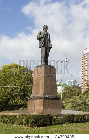 SOCHI, RUSSIA - November 06, 2015: Monument to the communist Lenin V. I. with an inscription on a granite plate. It is placed into Arts Square. Sochi, Russia