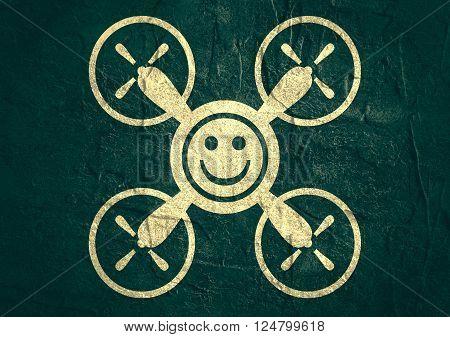 Drone quadrocopter icon. Flat symbol. Concrete textured. Smiley symbol