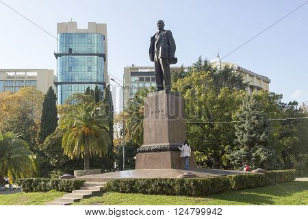 SOCHI, RUSSIA - November 06, 2015: Monument to Lenin V. I. against the blue sky. It is placed into Arts Square. Sochi, Russia