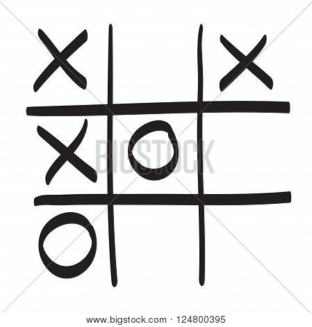Hand drawn tic tac toe vector scribble icon symbol illustration black lines