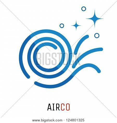 Air conditioning logo concept. Fresh clean air fan vector logotype template for business.