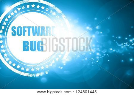 Glittering blue stamp: Software bug background with some soft smooth lines