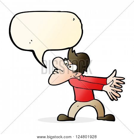 cartoon annoyed man gesturing with speech bubble