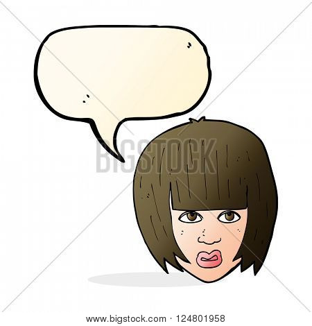 cartoon annoyed girl with big hair with speech bubble