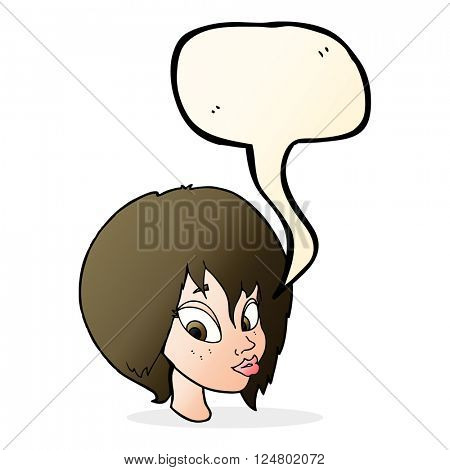 cartoon pretty female face pouting with speech bubble