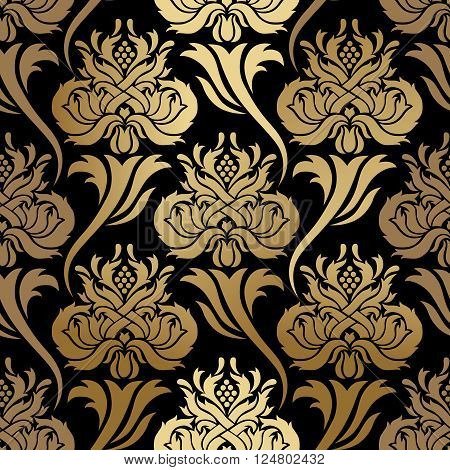 Seamless vector pattern. Abstract illustration, with elements of ornament damask, gold foil printing on black background.