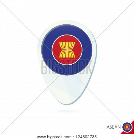Asean Flag Location Map Pin Icon On White Background.