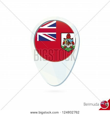 Bermuda Flag Location Map Pin Icon On White Background.