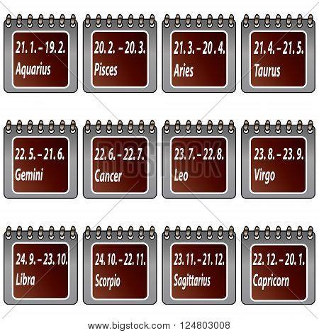 Computer generated set of calendar signs (zodiac).