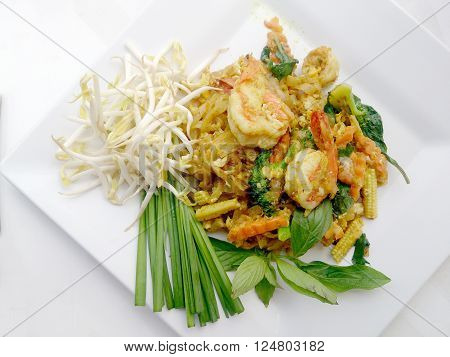 Pad Thai Noodles Style With Green Curry And Prawns. Thai Food Style.