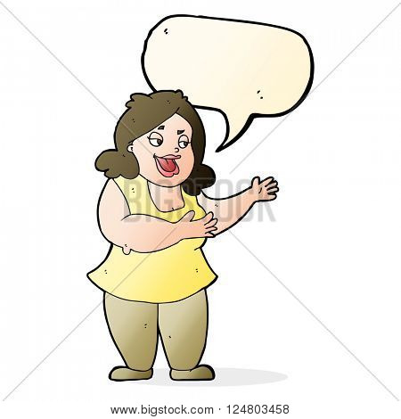 cartoon happy fat woman with speech bubble