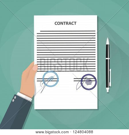 cartoon businessman hand holds contract documents with signs and stamps. Treaty signing concept. contract agreement, papers and pen. vector illustration in flat design on green background