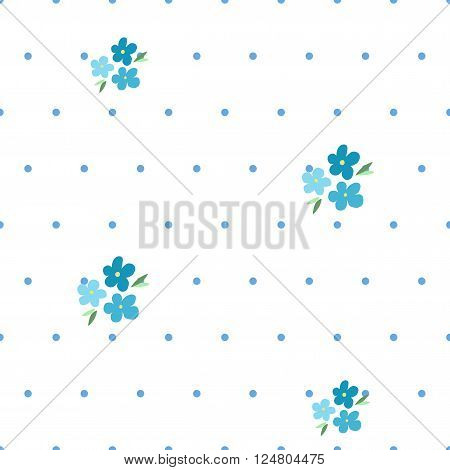 Tender seamless pattern with forget-me-nots and blue dots on white background. Elegance vector illustration for textile, fabrics, prints.