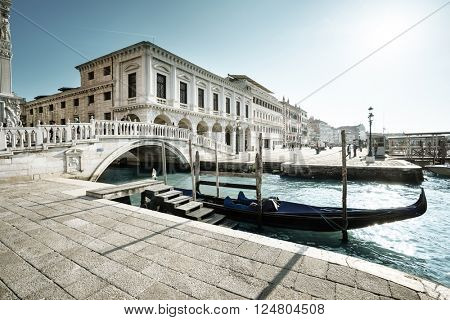 traditional gondola on Canal Grande, San Marco, Venice, Italy