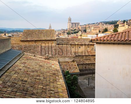 roofs of the old town Girona, Catalonia, Spain