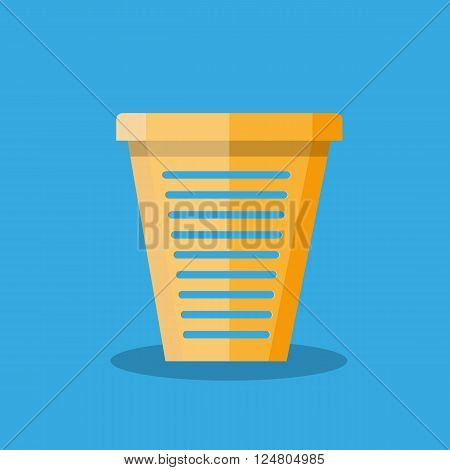 Cartoon office empty trash recycle bin for garbage. Bin for papers. Vector illustration in flat design on blue background