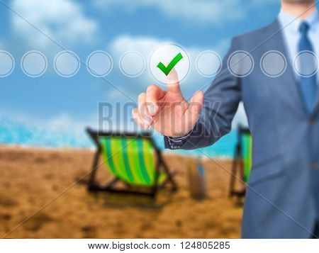 Businessman Check Mark On Virtual Screen. Finger On A Checklist Box And Ticking.