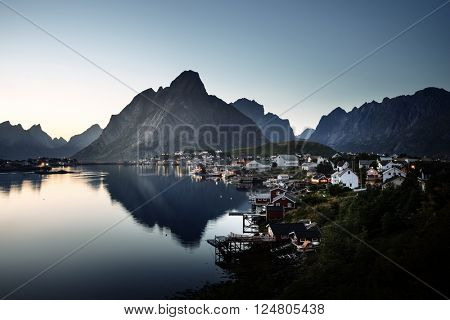 mist in sunset time Reine Village, Lofoten Islands, Norway