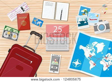 Wooden travellers table, paper map of world and tourist equipment, travel bag, passport, airplane ticket, notebook, smartphone with navigation application, photo camera, cash and coins, calendar with date in center. vector illustration in flat design