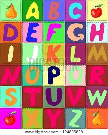 Colorful quilt alphabet. Vector illustration with patchwork letters.
