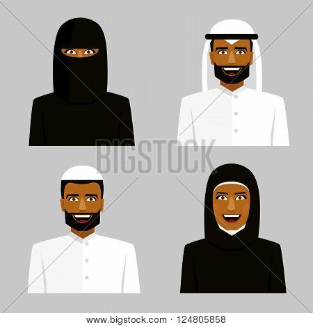 Arab people. Man and woman in hijab. Traditional arabic clothing.