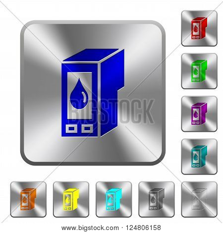 Engraved ink cartridge icons on rounded square steel buttons