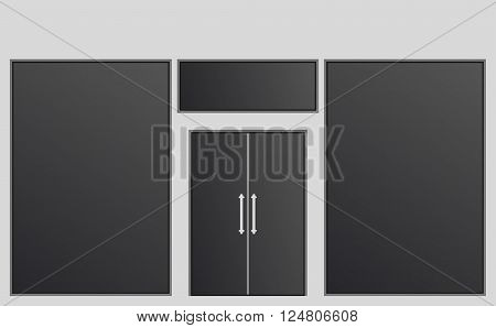 Shopfront with large windows, vector illustration .