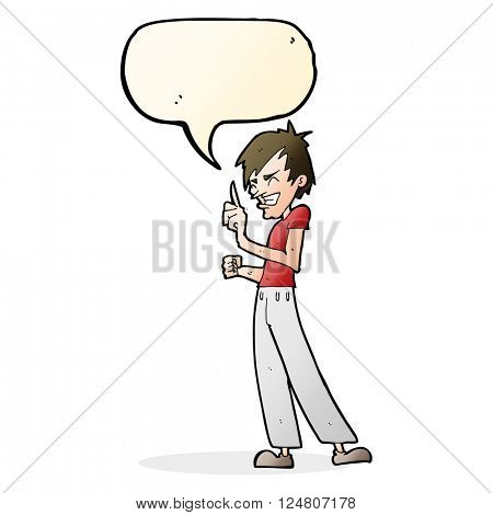 cartoon angry man arguing with speech bubble