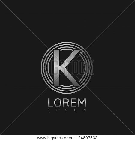 Silver steel K letter logo for business company