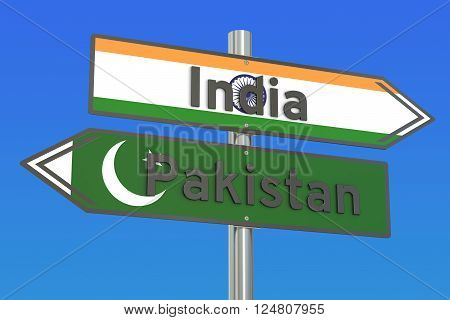 India and Pakistan relations concept 3D rendering
