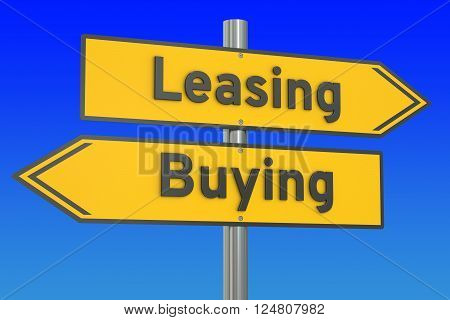 leasing or buying concept on the road signpost 3D rendering