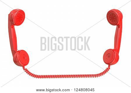 Red handsets 3D rendering isolated on white background