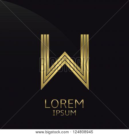 Golden metal letter W logo. Gold. Luxury symbol. Business company logo. Vector illustration