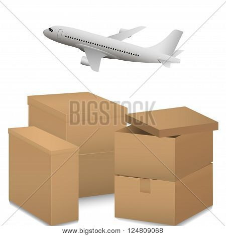 Air transportation. Delivery and shipping concept. Airplane and cardboard boxes