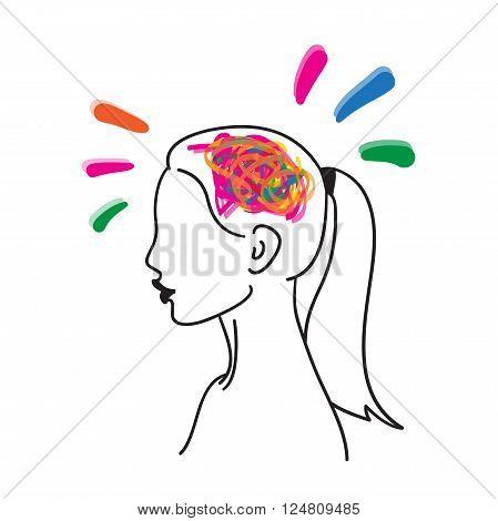 Creative mind vector hand drawn illustration icon on white background