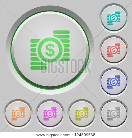 Set of color dollar coins sunk push buttons.