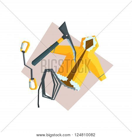 Set Of Items For Mountaineering Flat Colorful Vector Illustration In Primitive Geometric Style Isolated On White Background