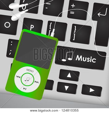 Mp3 Player On Computer Keyboard With A Music Button