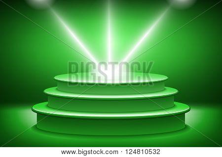 Green Illuminated Stage Podium For Award Ceremony Vector Illustration