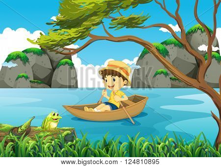 Boy rowing boat alone in the lake illustration