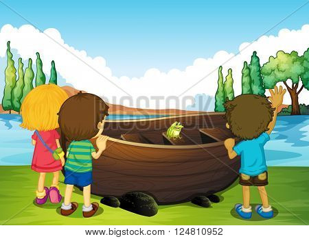 Children standing next to the boat illustration