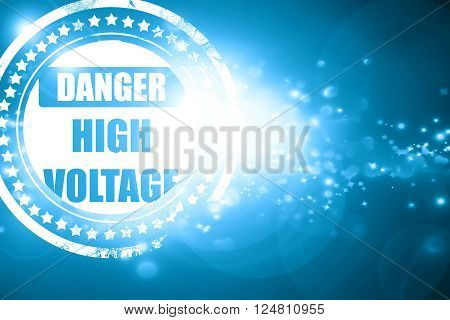Glittering blue stamp: high voltage sign with some soft smooth lines