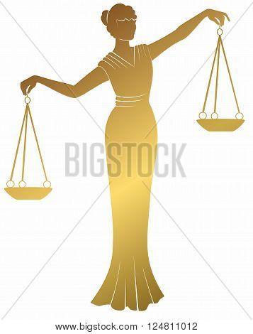 libra, lady justice Themis. Equality balance right to a fair trial.