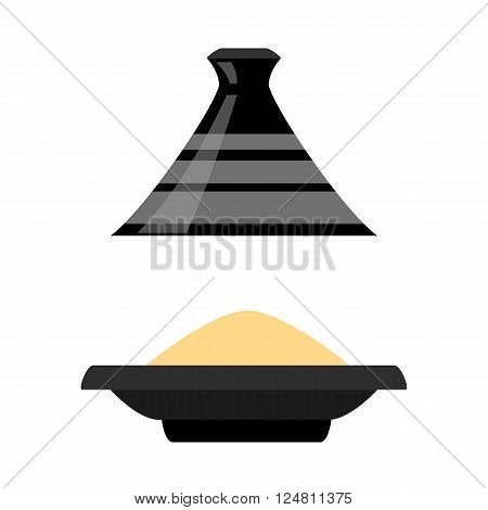 Moroccan tajine isolated on white background. vector illustration