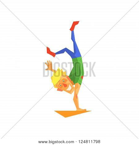 Circus Acrobat Performing Graphic Flat Vector Design Isolated Illustration On White Background