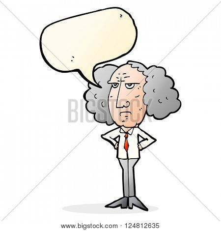 cartoon big hair lecturer man with speech bubble