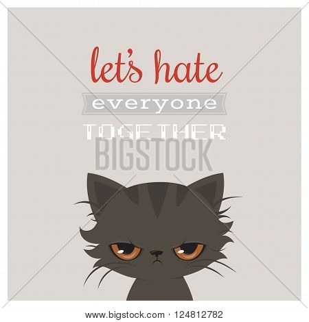 Angry cat cartoon. Cute grumpy cat, vector illustration. Grumpy cat greeting card.